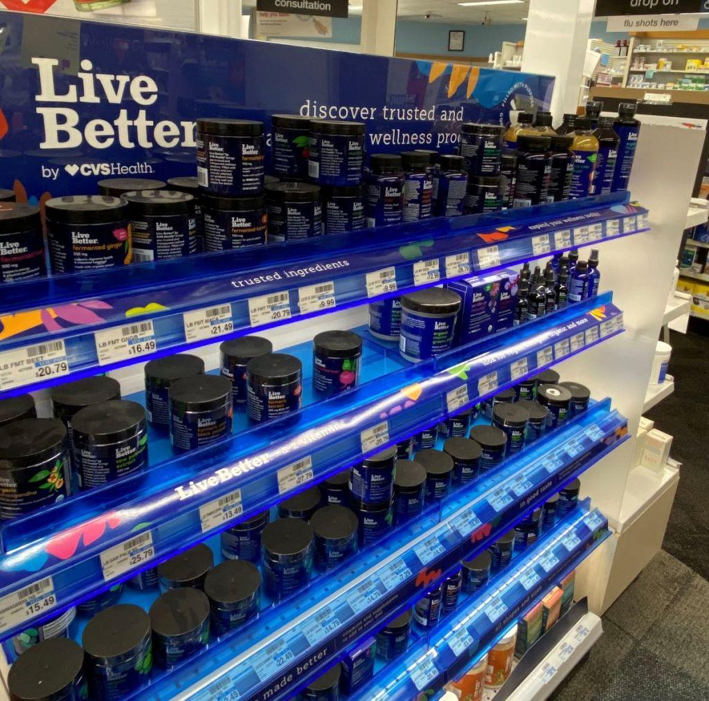 display of Live Better vitamins at CVS
