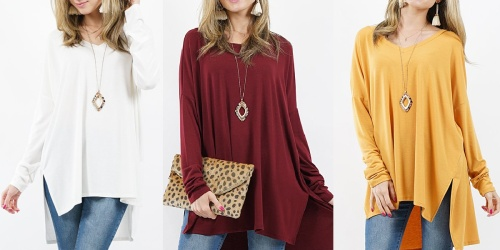 Women's High-Low Tunics Only $12.99 on Zulily | Includes Plus Sizes
