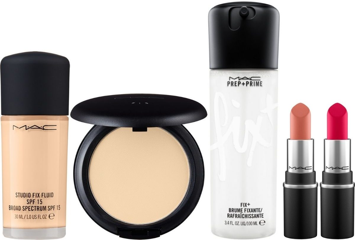 Mac Cosmetics including foundation, prep and prime spray and two mini lipsticks