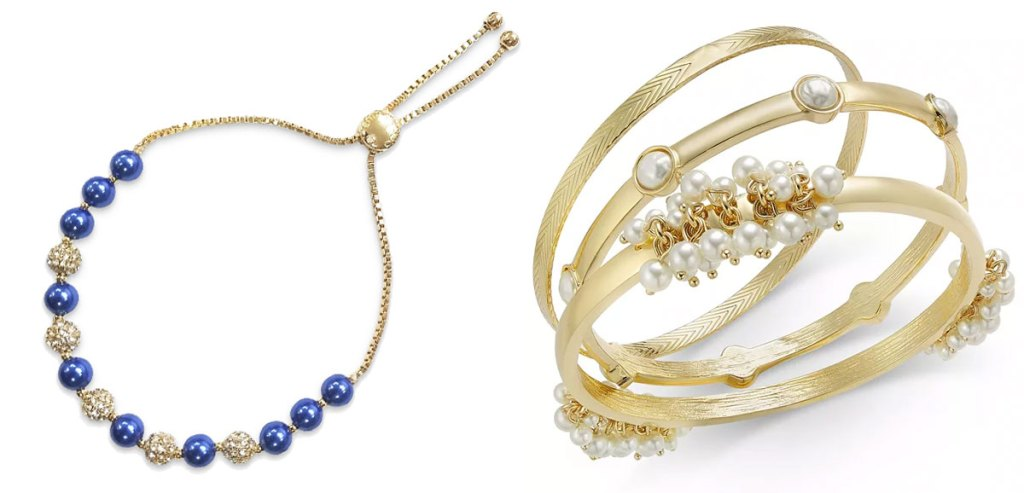 gold bracelet with blue and gold ball beads and 3-piece pearl bangles set