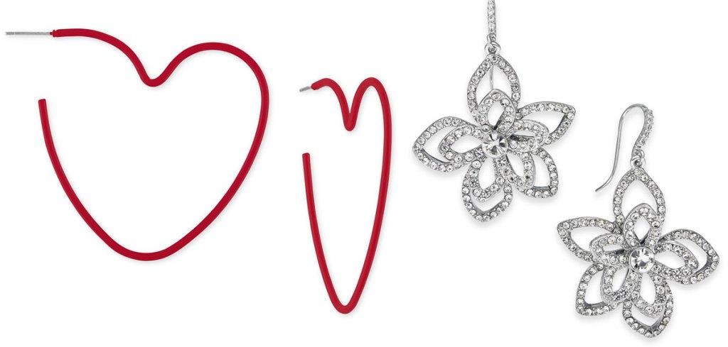 red heart shaped hoop earrings and silver flower shaped drop earrings
