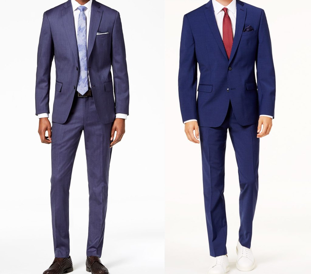two men modeling two shades of blue suits