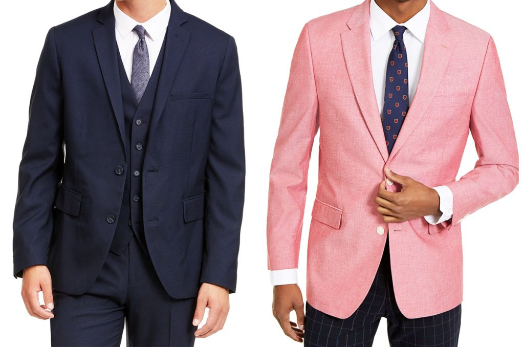 two men modeling suit jackets in navy blue and light pink