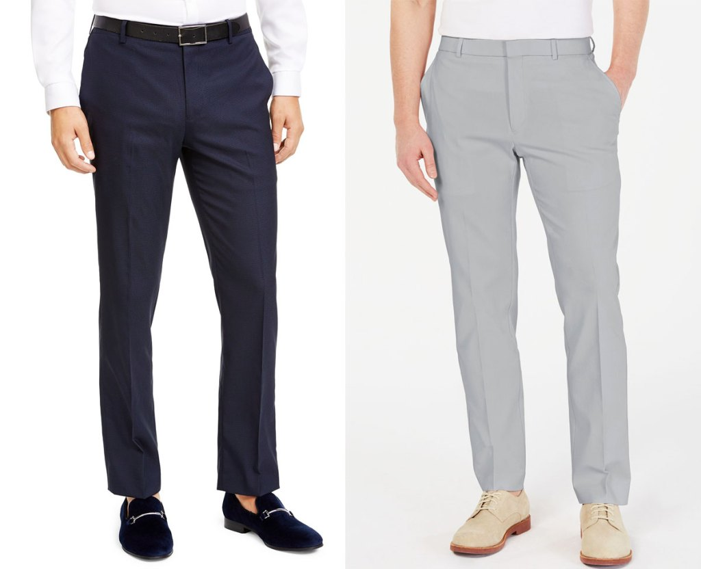 two men modeling dress pants in navy blue and light grey