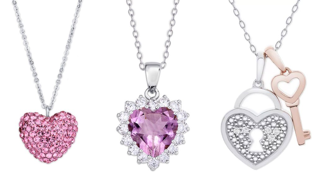 three heart shaped necklaces in sterling silver