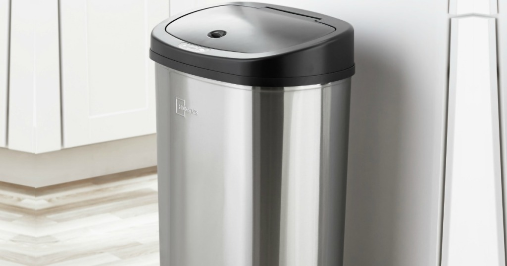 Stainless steel Garbage can in a white kitchen