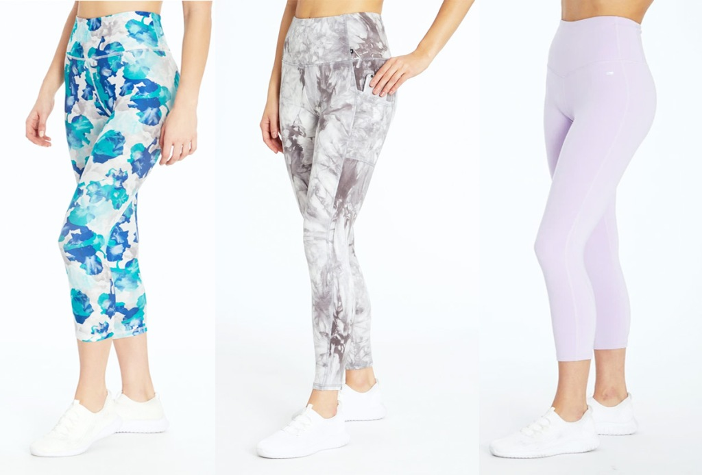 three women modeling workout leggings in blue, grey, and purple colors