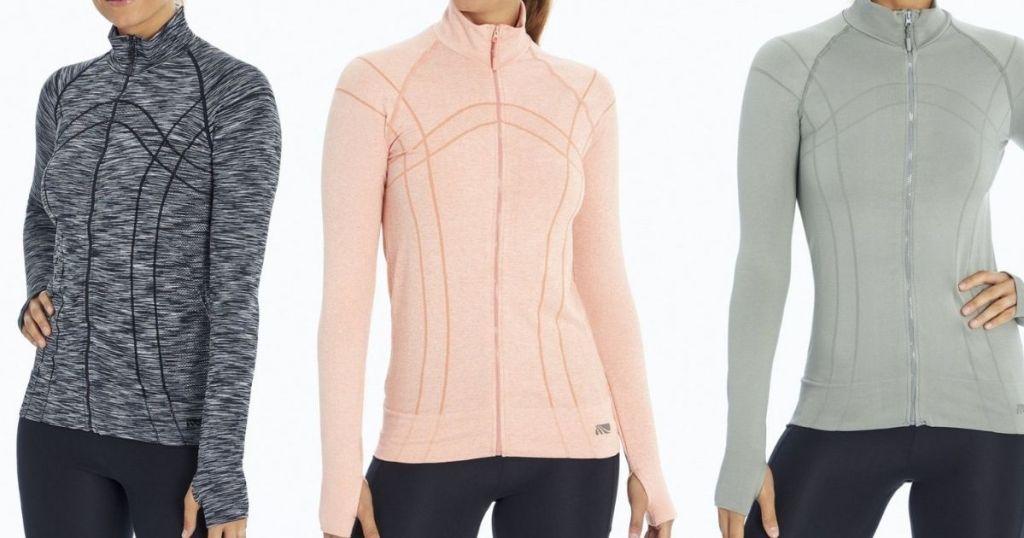 three women wearing jackets