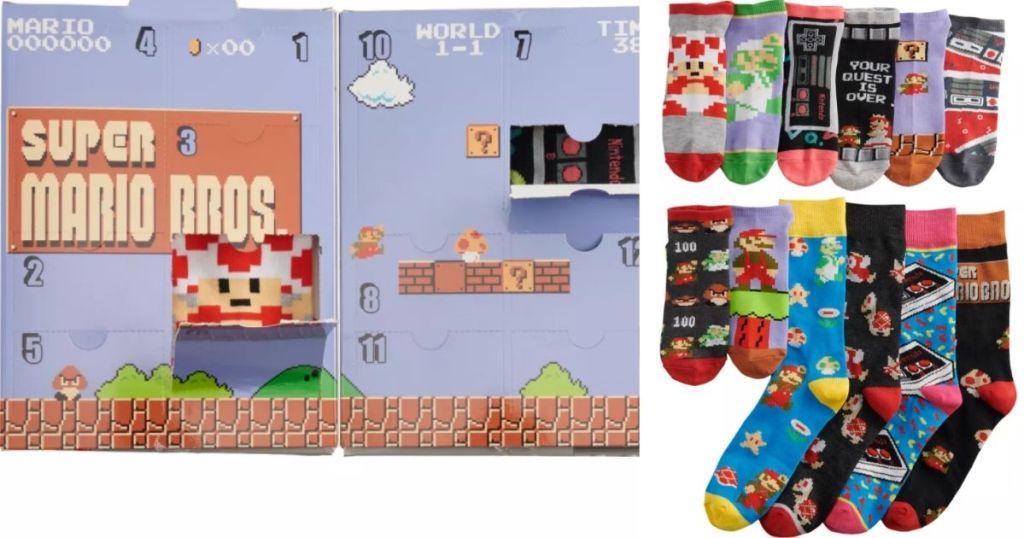Mario Sock Advent Calendar and socks