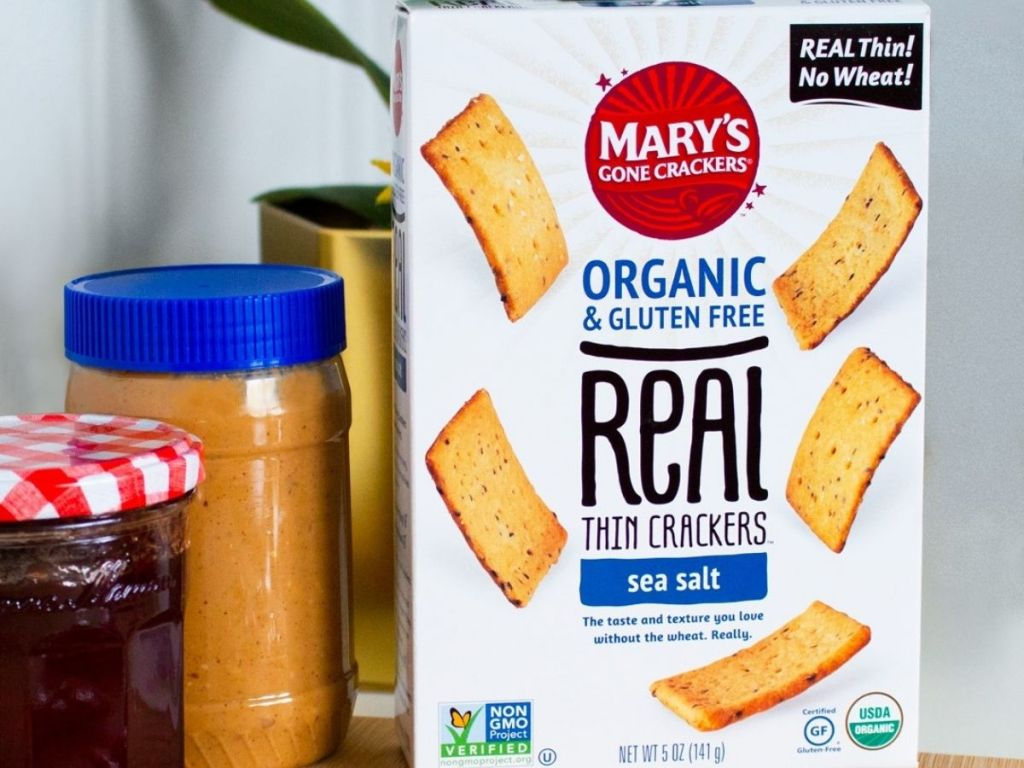 Mary's Gone Crackers Sea Salt Box with peanut butter and jam next to box