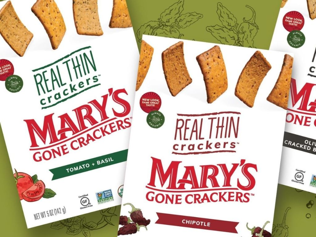Mary's Gone Crackers Real Thin Tomato + Basil and Chipotle boxes with green background