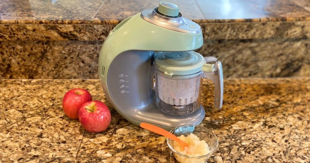 baby food maker with apples next to it
