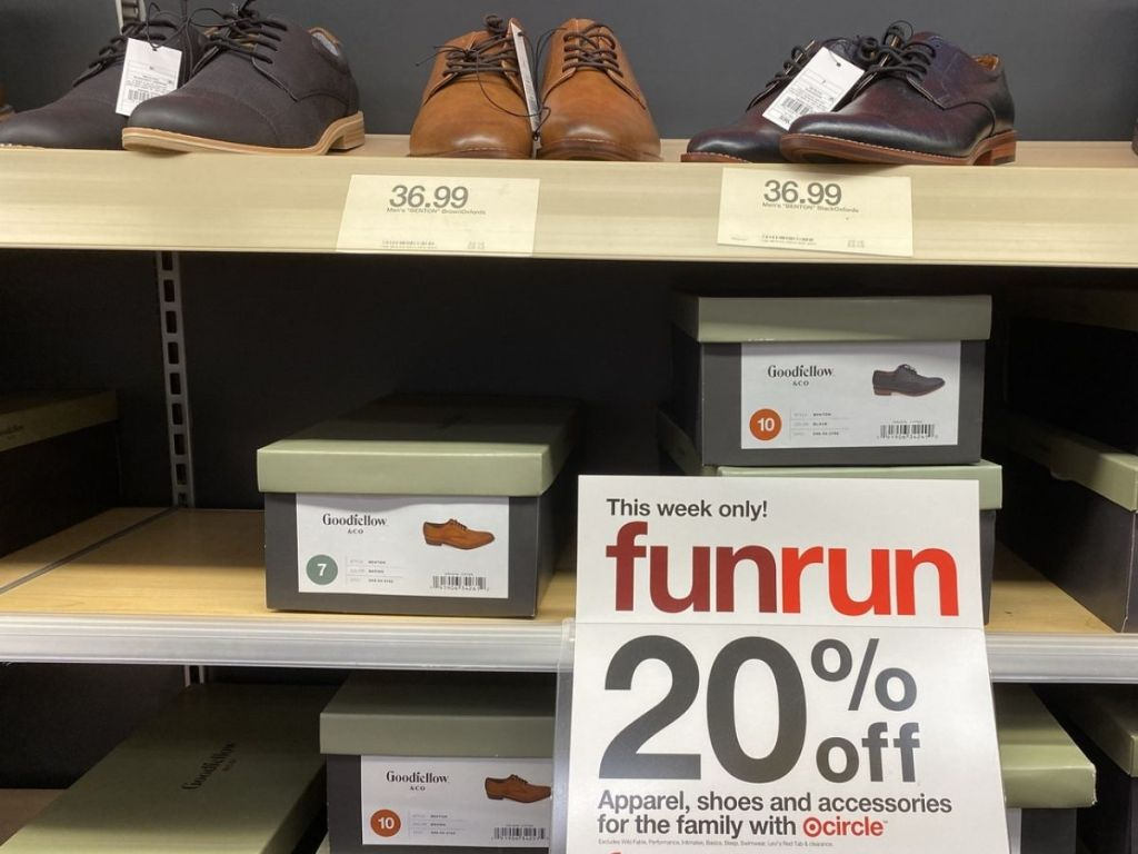 Target shelf with Goodfellow Co Mens Dress Shoes