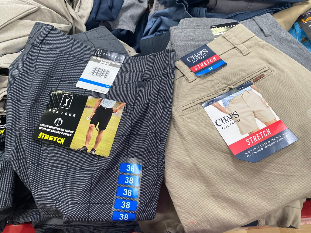Men's PGA tour or Chaps Shorts on display table