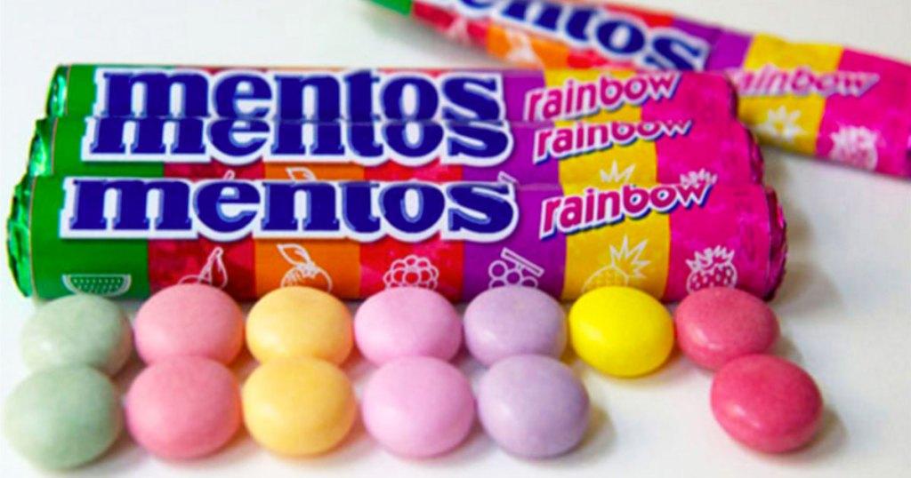 rolls of mentos fruity candies