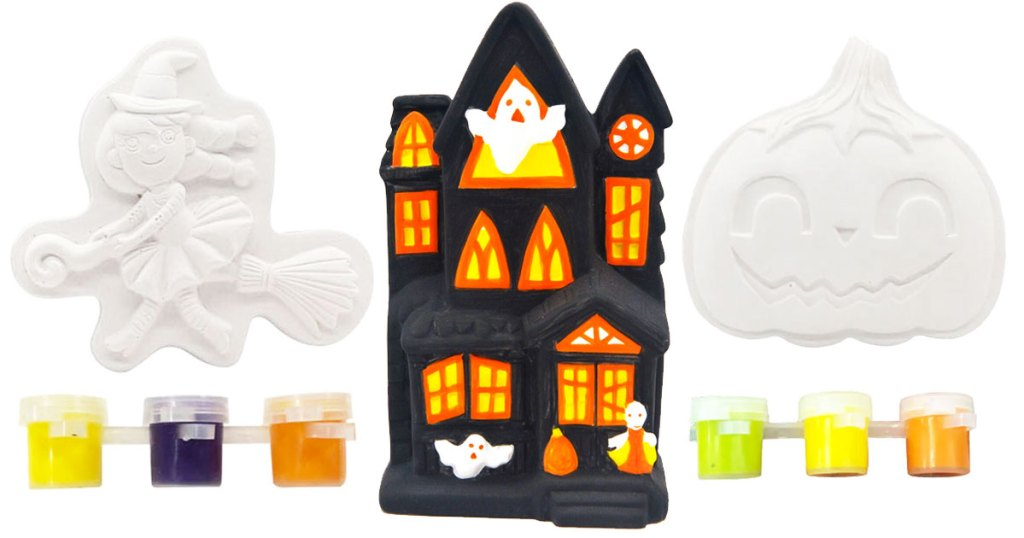witch, halloween house, and pumpkin shaped ceramic kits with three colors of paint each