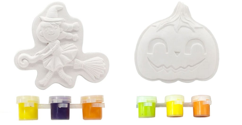 whate witch and pumpkin magnet kits with three colors of paint each