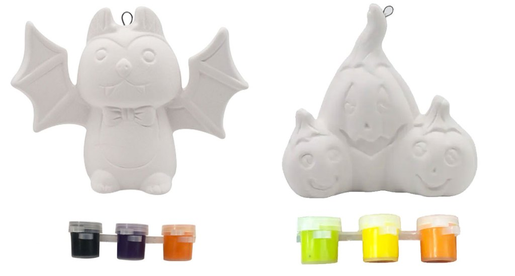 bat and pumpkin white ceramic ornament kits with three colors of paints each