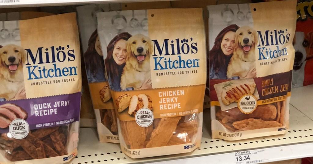 Milo's Dog Treats Bags on a store shelf