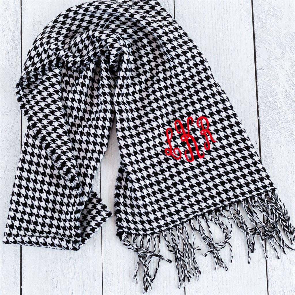 black and white scarf with red monogram
