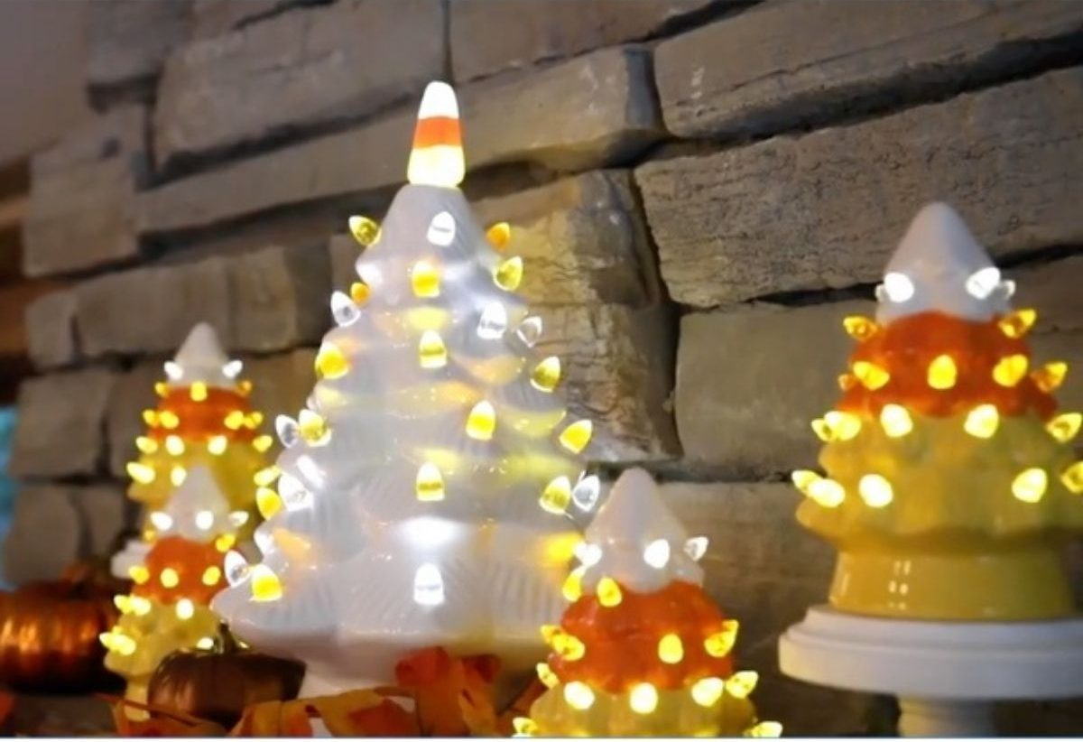 Nostalgic Ceramic Halloween Candy Corn Tree with mini candy corn trees