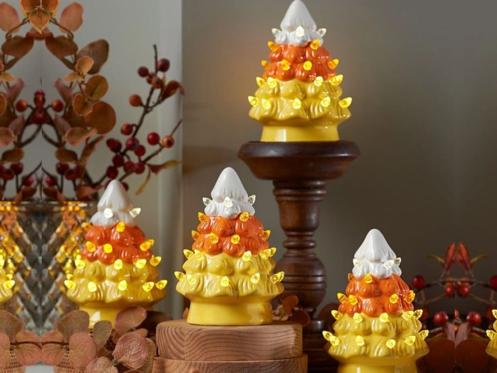 Mr Halloween Ceramic Candy Corn Trees