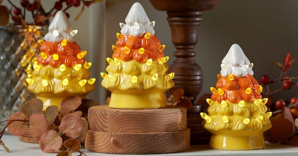 display of three Mr. Halloween Mini Candy Corn Nostalgic Trees