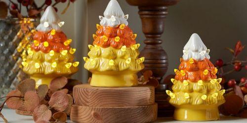 Light-Up Candy Corn Ceramic Trees 4-Piece Set from $30.98 Each Shipped