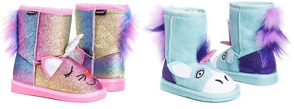 two pairs of unicorn kids boots in rainbow and light blue colors