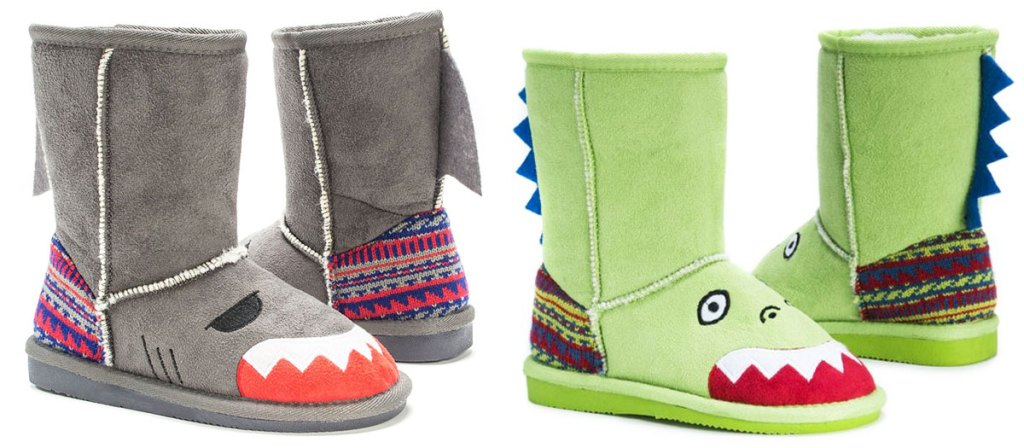 grey kids boots with shark face and green boots with dinosaur face