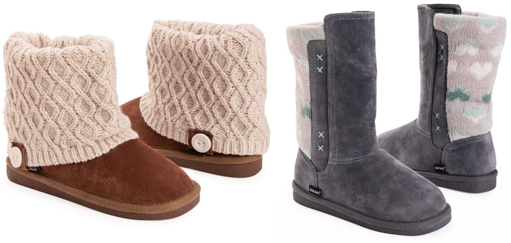 pair of brown boots with cream colored sweater top and grey boots with heart print sweater back