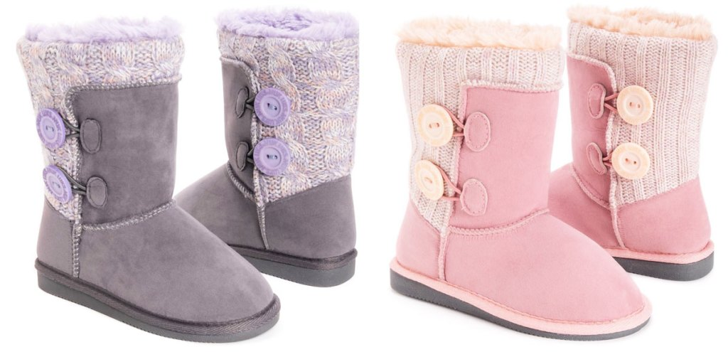 two pairs of girls muk luks boots in pink and purple with sweater and button details