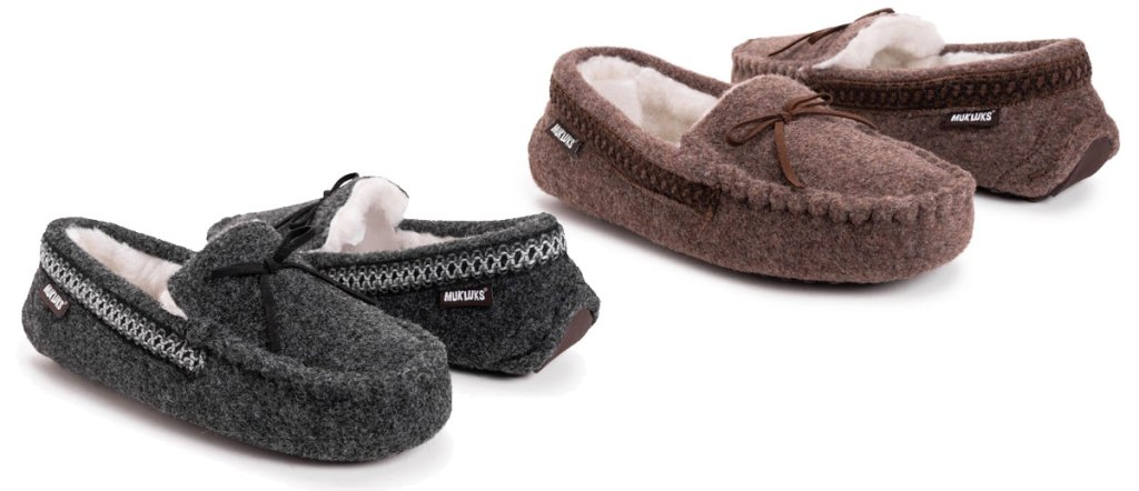 two pairs of men's muk luks moccasin slippers in black and brown colors