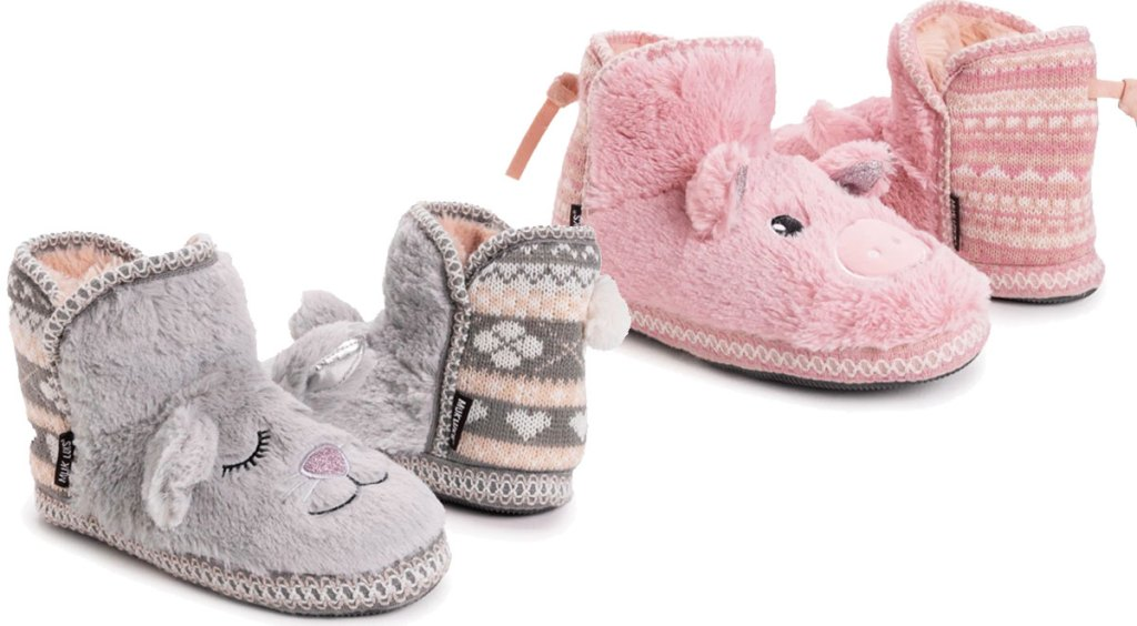 two pairs of womens muk luks critter slippers in grey bunnies and pink pigs