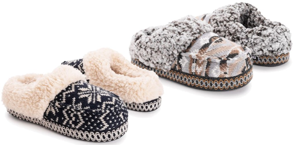 two pairs of muk luks women's slippers in brown and navy prints