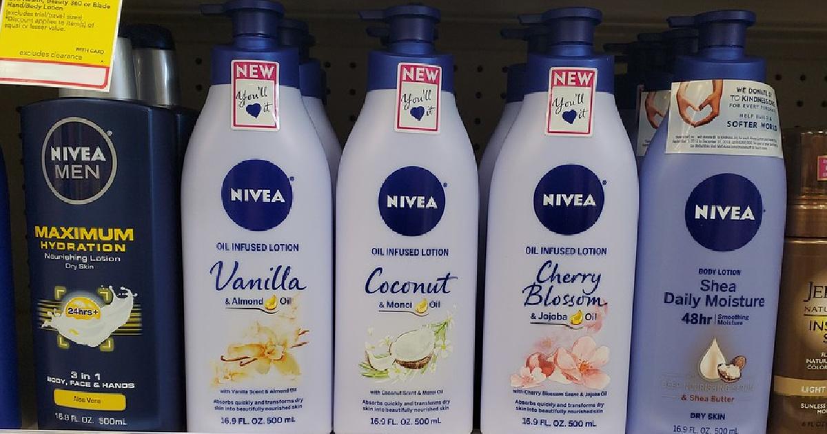 various bottles of lotion on store shelf