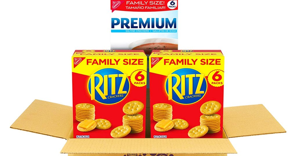 brown shipping box with two family size boxes of ritz crackers and box of premium saltine crackers