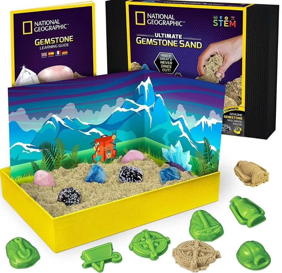 kids gemstone sciencekit with kinetic play sandand molds