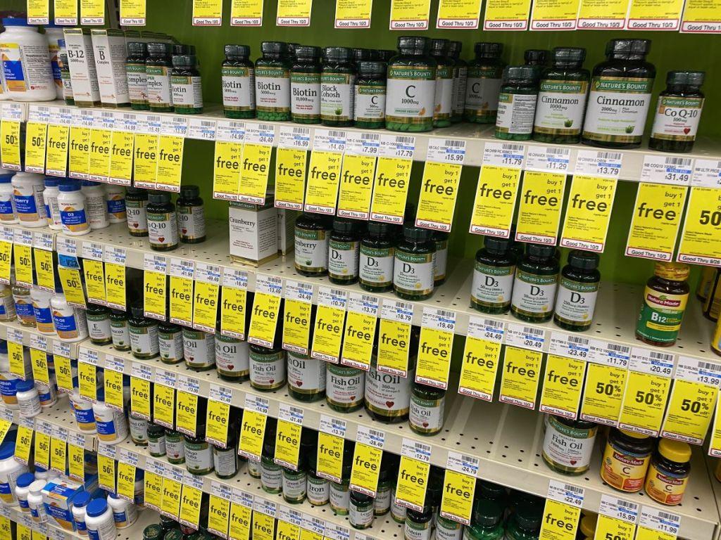 display of Nature's Bounty vitamins at CVS