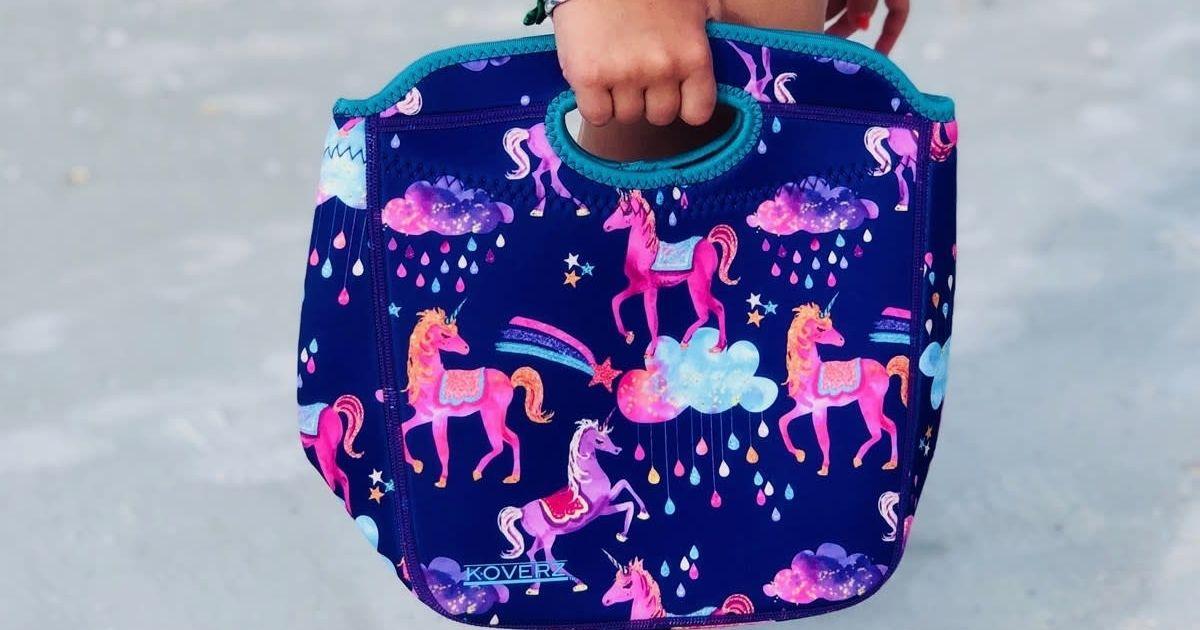 kid holding Koverz unicorn lunch tote