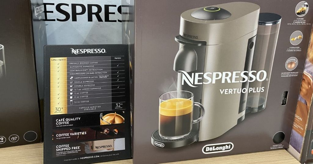 Nespresso Vertuo Plus box on shelf