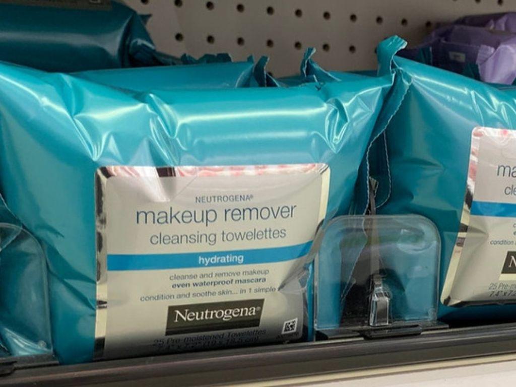 Neutrogena Hydrating Wipes on store shelf