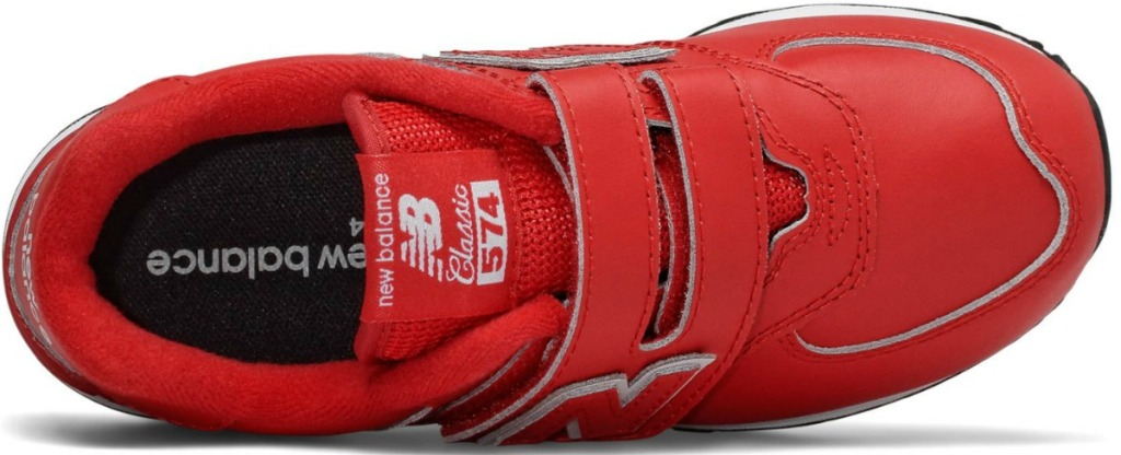 Top view of a red kids athletic shoe