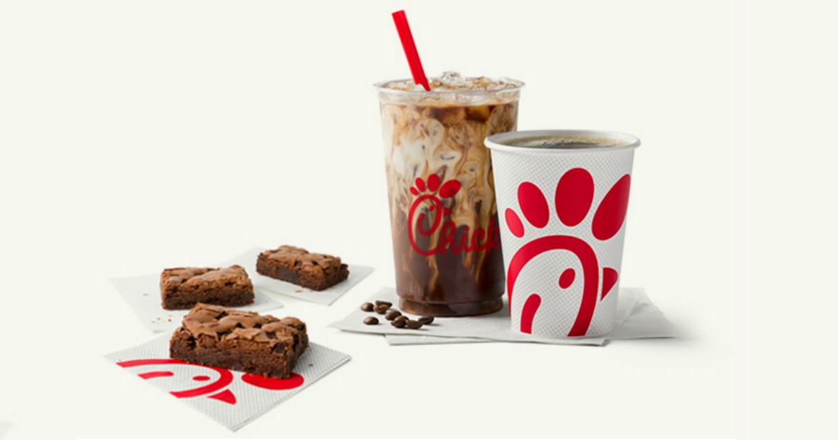 Chocolate chip brownies near an iced coffee and beverage from Chick Fil A