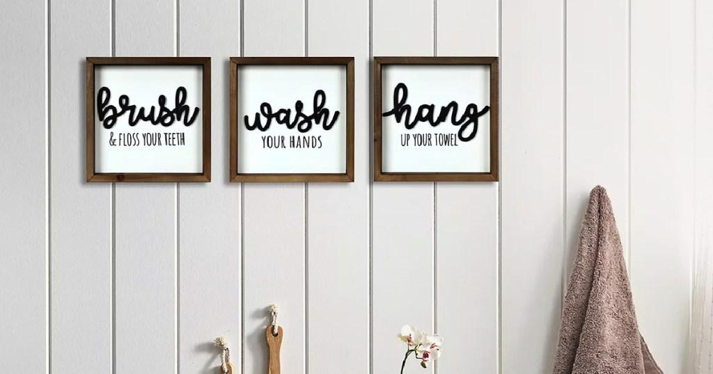 New View Wash Brush Hang Wall Decor 3-piece Set