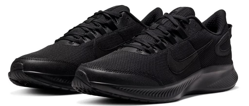 pair of solid black Nike sneakers