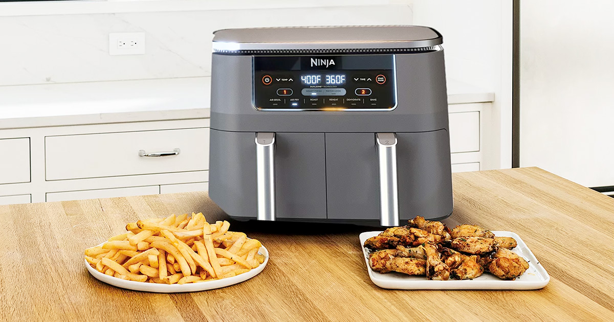 grey Ninja Foodi air fryer with two separate frying baskets and plates of fries and chicken on counter in front of it