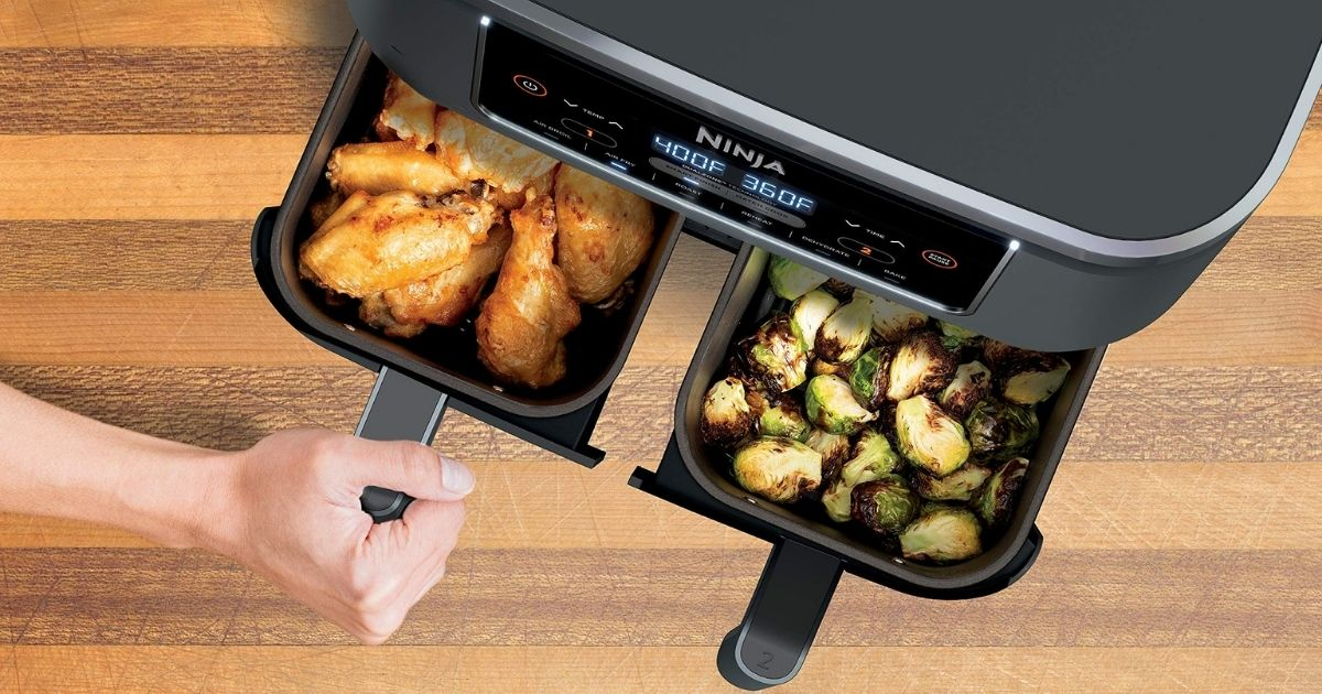 two open baskets of the Ninja Foodi Dual Zone Air Fryer
