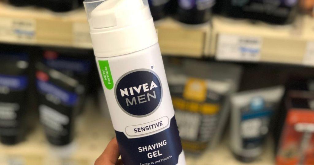 hand holding nivea shave gel
