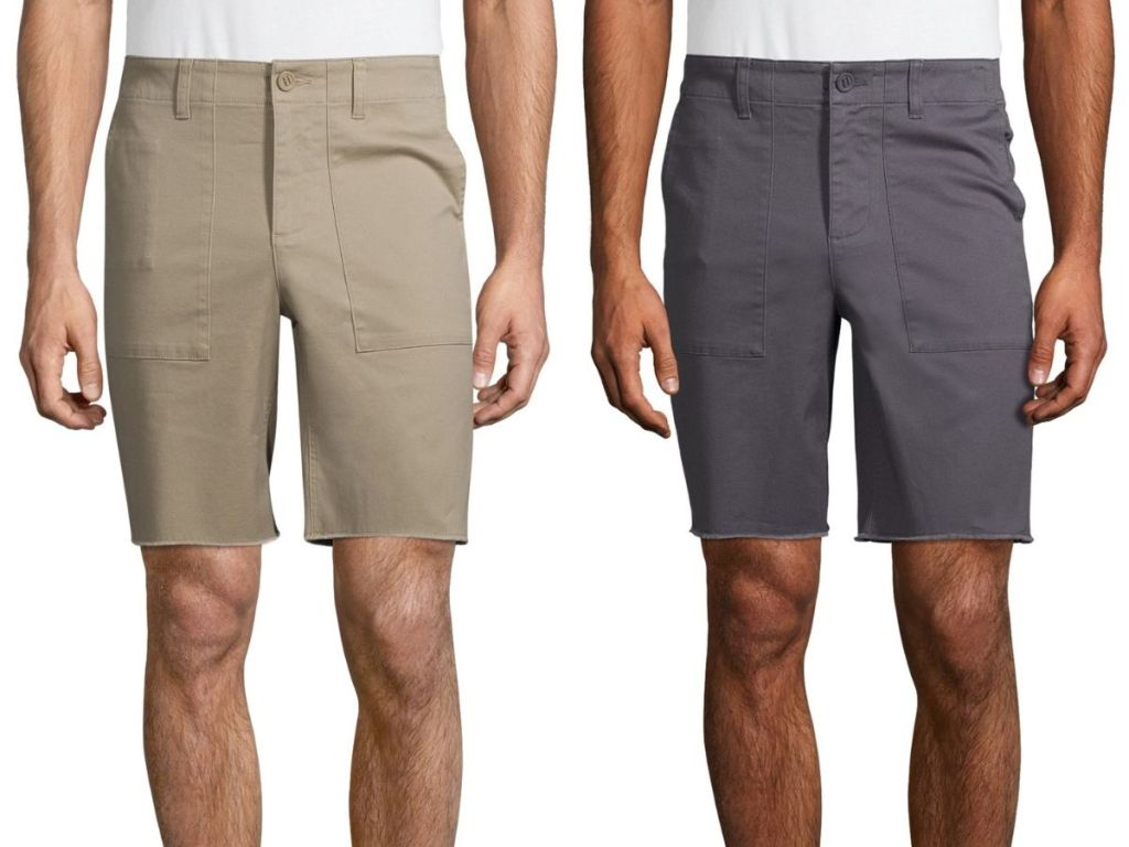 two men wearing khaki and charcoal colored shorts
